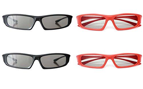 RealD - Gafas 3D universales (4 unidades), color negro y rojo