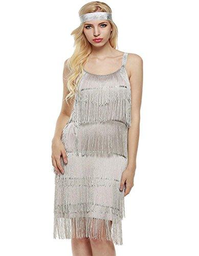 Kleid Flapper Kleid Fransenkleid Charleston Kleid Knielang Abendkleid (1920er Charleston Kleid)