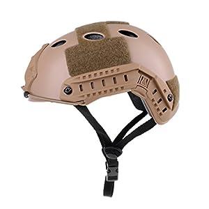 Baoblaze 1 Stück Taktische Helm Verstellbares Kinnpolster ABS Helm mit NVG Halterung und seitliche Schienen