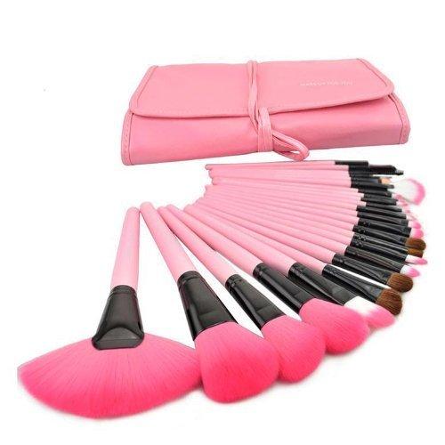 XLKJ Set de Brochas de Maquillaje Profesional 24pcs Pinceles Maquillaje para Bases, Contorno, Sombreado, Sombra de Ojos, Cejas, Labios, Corrector ect, Rosa