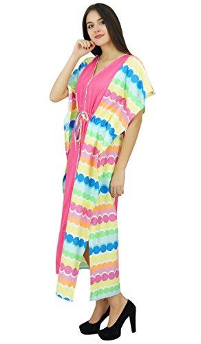 Bimba E longues en coton pannel caftan collection plage couvrir caftan robe Multicolore