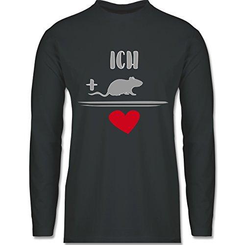 Statement Shirts - Ratten-Liebe - Longsleeve / langärmeliges T-Shirt für Herren Anthrazit