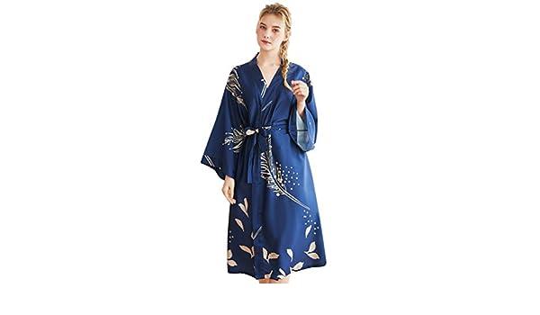 YuanDian Donna Estate Lungo Vestaglia da Camera Stampa Floreale Colletto a V Sottile Kimono Seta Raso 3//4 Manica Sposa Accappatoio da Notte Indumenti da Notte Pigiama
