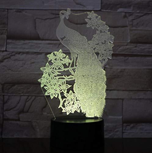 Joplc Pfau Nachtlicht Lampe 3D LED Lampe Tischlampe Für Kinder Weihnachtsgeschenk Schwarzer Sockel mit Berührungsschalter