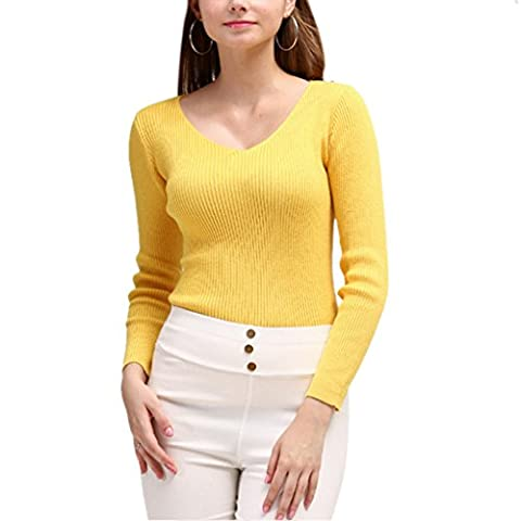 Nergivep Women V-neck Cashmere Sweater Long Sleeves Pure Color Pullover Blouse Jumper