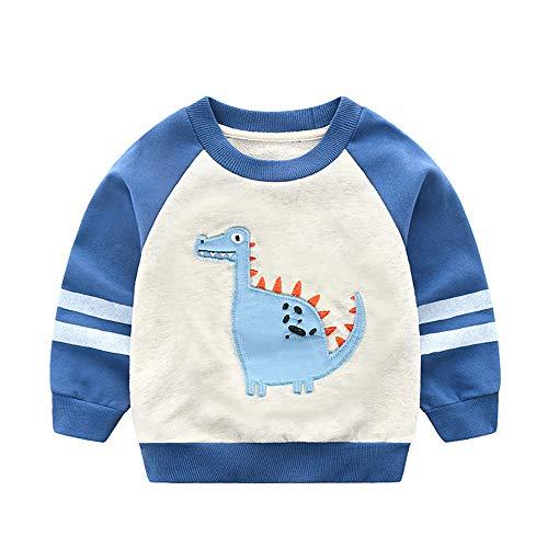 ZAMAC Kinder Pullover Junge 3D Bedruckte Sweatshirt Karikatur Sweat Crewneck Langarm Gemustert T-Shirt Lässig Herbst Winter Alter 2-8 Blue Kids Crewneck Sweatshirt
