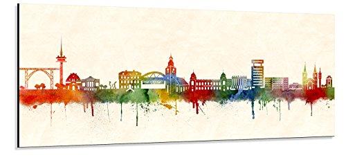 Acrylglas Wandbild Wuppertal Skyline/Panorama - Acrylglas mit Alu-dibond-Aufhängesystem - Farbe...