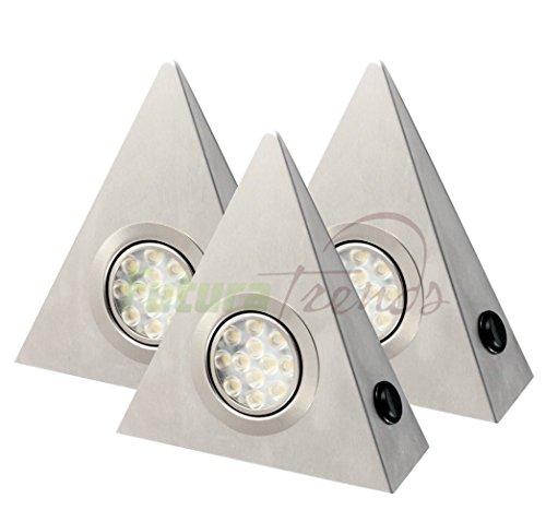3er Set LED Edelstahl Dreieckleuchten 3W HIGH LED SMD WARMWEISS, mit Schalter an jeder Leuchte