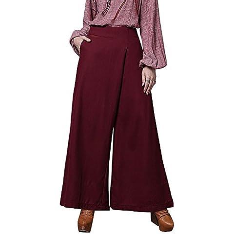 Happy Lily Mujer Cintura Alta asimétrico de la pierna ancha largo Palazzo Bell Bottom–Pantalones de yoga pantalones de culotte, mujer, rojo, L