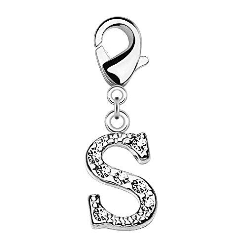 Bungsa® S - Silberner Buchstaben Kristall Charm Anhänger für Bettelarmband Ohrring Halskette Zirkonia Damen Herren Kinder (Kettenanhänger Pendant Beads A B C D E F G H I J K L M N O P R S T U V W Z )