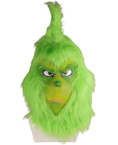 Mesky Grinch Maske Cosplay Anime Mask Weihnachten Kostüm Zubehör Grüne Latexmaske mit Haar aus Film Atmungsaktiv, Leicht 300g Ideales Geschenk