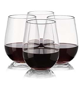 NOTMOG - NOT Made Of Glass notmog–Pas fabriqué de Tritan en verre incassable verres à vin sans pied, Lot de 4