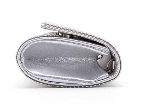 Damen Abendtasche Kristalldiamanten Diamant Wallet Glänzende Handtasche Bankett Silver