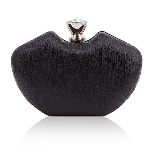 Damara® Damen Medium Apfel Form Hart Schachtel Abendtaschen Schwarz