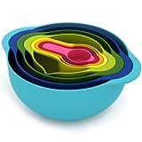 MyKitchen ciotole, plastica, blu/rosa/giallo/verde, set di 8