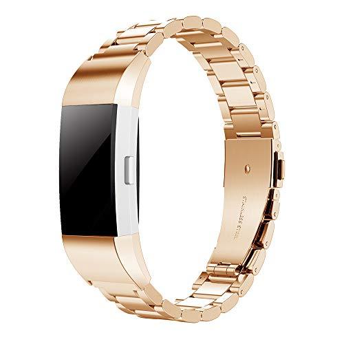 Simpeak Ersatz Fitbit Charge 2 Armbänder Roségold, Edelstahl Metall Ersatz Uhrenarmband Band Straps Ersatz Fitbit Charge 2
