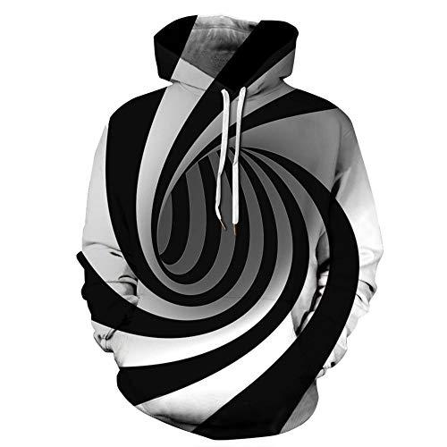 yyqx container Männer und Frauen realistische 3D-gedruckte Pullover Kapuzenpullover Kapuzenpullover große Tasche schwarz und weiß Whirlpool 3D-Kapuzenpullover, 5XL