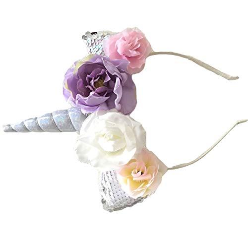 reif Katzenohren Stirnband Haarband mit Blumen Kopfschmuck für Kinder Mädchen Geburtstag Halloween Party Kostüm ()