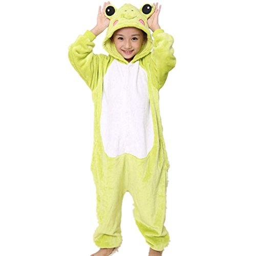 lifenewbaby Kinder Strampelanzug Kids Cartoon Animal Schlafanzüge animie Cosplay Kostüm Hoodies jumpsuits-frog Gr. XS , (Baby Kostüm Halloween Frosch)