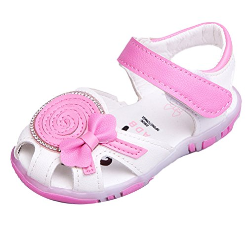 Zhhlinyuan Fashion Lighted Soft-Soled Sandals Baby Summer Anti-slip Toddler Cute First Walkers Shoes White