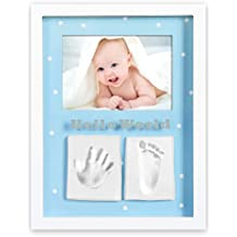 Marco de fotos para bebé para huella de mano y pie 3D, Portafotos de madera
