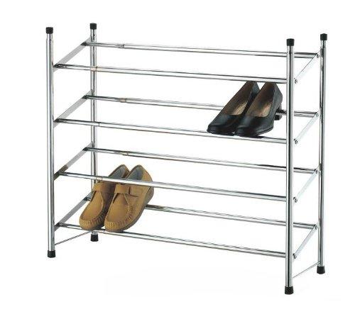 top-home-solutionsr-cromato-con-4-ripiani-telescopico-impilabile-shoe-rack-organizer