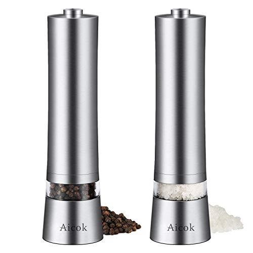 Aicok Elektrische Pfeffermühle, Salzmühle, Edelstahl, Set mit 2 elektrischen Mühlen, komplett verstellbar, geeignet für Salz und Pfeffer, langlebig