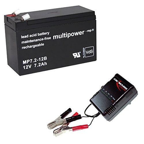 Ladegerät + 12V 7,2Ah Akku PB Bleigel AGM Accu bgl. B.B. BB Battery BP7-12 SP12-7.2 ES7.2-12 SPT12-7.2 6FM7.2 NP7.2-12 SR GB12-7.2 1272 für Elektro Kinderauto MERCEDES GL63 AMG Accu Batterie - Amg-batterie