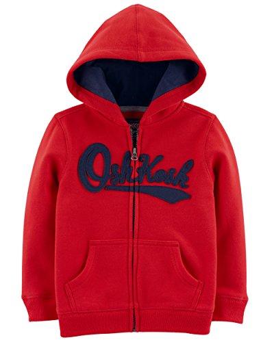Toddler Full Zip Hoodie (OshKosh B'Gosh Boys' Toddler Full Zip Logo Hoodie, Jalapeno red, 3T)