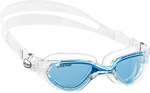 Cressi Flash DE202323 Occhialini Nuoto a Oculari Separati con Lenti Infrangibili Antiappannamento, Antigraffio, Anti UV, Adulto Uomo, Trasparente/Azzurro/Lenti Azzurre