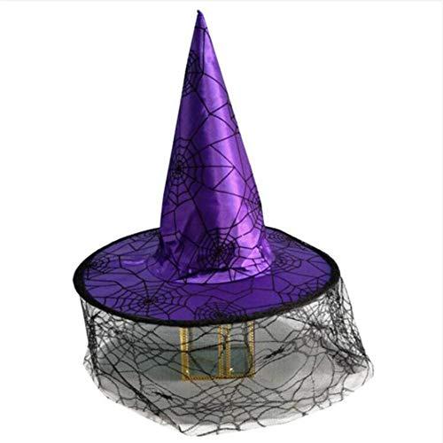 Shuangklei Halloween Hexe Hut Mit Spinne Halloween Kostüm Cosplayparty Aktivitäten Zauberer Wizard Dress Up Weihnachten
