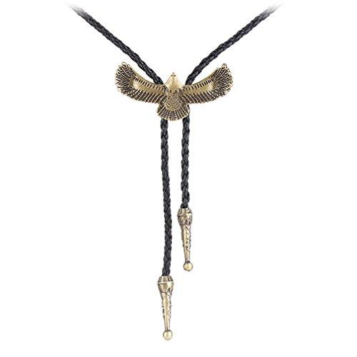 JOYMIAO Bolotie Halskette Western Cowboy Leder Kette Lange Anhänger Halskette