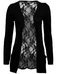 (womens black lace back boyfriend cardigan (aqa) Femmes noir dentelle dos copain cardigan (36/38 (uk 8/10), (black) noir)
