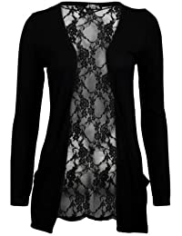 (womens black lace back boyfriend cardigan (aqa) Femmes noir dentelle dos copain cardigan (36/38 (uk 8/10), (black) noir)