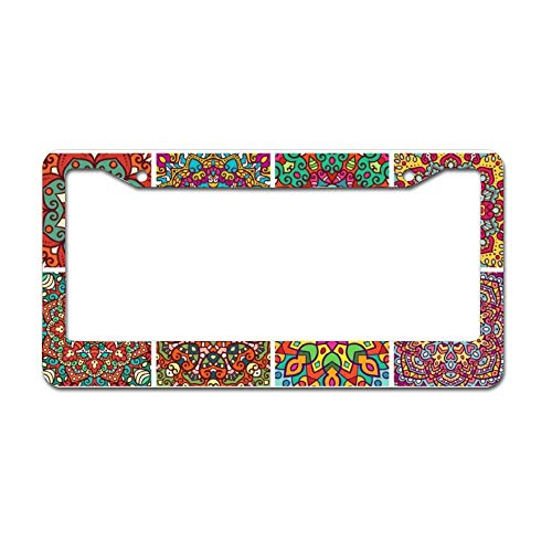 DKISEE Set of Ethnic Patterns Chrome License Plate Frame Metal Auto License Plate Frame Car Licenses Plate Cover Holder for US Vehicle 6 x 12 inch