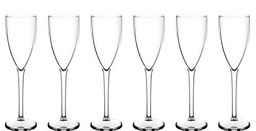 Juego de 6premium de champán (policarbonato) aspecto de cristal real pero irrompible de plástico. Ideal para Picnics, en la playa, piscina, barbacoa, jardín, lavable y reutilizable. Lavavajillas.