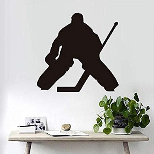 Eishockeyspieler Muster geschnitzt Wandsticker Junge Schlafzimmer Dekoration 58x61cm