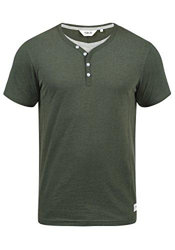 !Solid Dorian Herren T-Shirt Kurzarm Shirt mit Grandad-Kragen, Größe:L, Farbe:Climb Ivy Melange (8785)