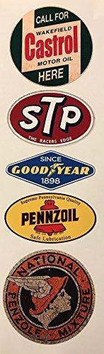 kleber Set 5x - Breite je Sticker ca. 6,5cm/Castrol STP Good Year Pennzoil Oldtimer Hot Rod Retro ()