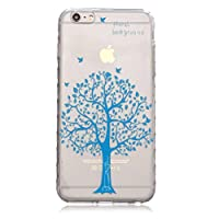 iPhone 6 Plus/6S Plus Case [With Tempered Glass Screen Protector],Grandoin(TM) Fashion Flexible Nice Drawing Printed Pattern Bumper Shell Case ,Excellent Quality Soft Silicone Rubber Extra Ultra Slim Thin TPU Colorful Designs Protective Back Cover Case Perfect Fit for iPhone 6 Plus/6S Plus(Blue Tree