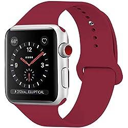 GIPENG pour Bracelet Apple Watch 38MM, Bracelet Sport pour Apple Watch Serie 1, Serie 2, Serie 3, Sport, Edition, Hermès,Nike (Rose Rouge, 38MM-ML)