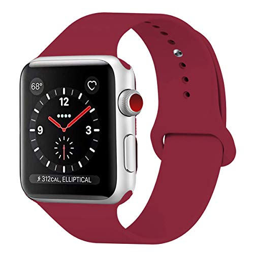 HILIMNY Para Correa Apple Watch 42MM, Suave Silicona iWatch Correa, Para Series 3, Series 2, Series 1, Nike+, Edition, Hermes (Rose Red, 42MM-SM)