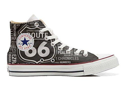 Converse All Star Chaussures Coutume Mixte Adulte (Produit Artisanal personnalisé) Route 66 Black