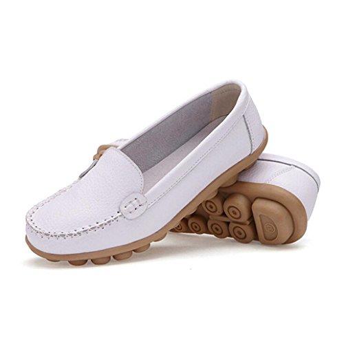Transer® Damen Mokassins Frühling/Herbst Casual Schuh PU-Leder+Kunststoff Sandelholz Slipper (Bitte achten Sie auf die Größentabelle. Bitte eine Nummer größer bestellen. Vielen Dank!) Weiß