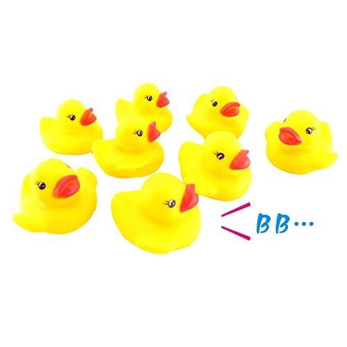 Omiky® 10PC Squeezing Anruf Gummiente Baby Dusche Geburtstag Gefälligkeiten Spielzeug (Gelb)