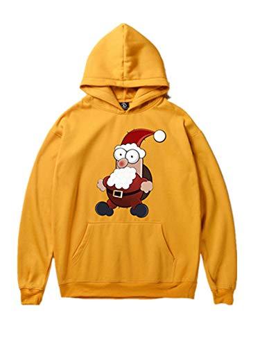 (Legogo Herren Weihnachtsentwürfe mit Kapuze Verdicken Freizeit und Mode Weihnachten Sweatershirt(M,gelb))
