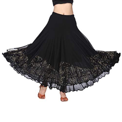 Flamenco Kostüm Damen - Baoblaze Damen Bauchtanz Kostüm Lange Satin Schwingen Tanz Rock Maxirock große Schaukel Faltenrock Latein Walzer Kleid - Schwarz, M