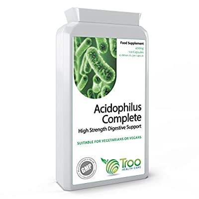 Lactobacillus Acidophilus 400mg 10 Billion CFU 120 Capsules - High Strength Probiotic Blend - UK Manufactured GMP Quality Assurance by Troo Health Care