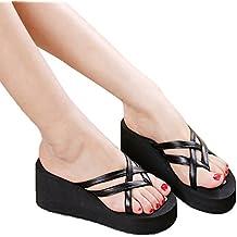 SamMoSon Sandali Donna Piatto Scarpe Perlina Boemia Tempo Libero Ragazze Casuale Sandali Scarpe con Flip-Flop (EU:38=CN:39, Nero)