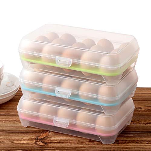 CHUN BO Eierlagerbehälter-Set & PP-Kunststoffmaterial & Einzelschicht 15 Eier & 3 Teile & Geeignet für Kühlschrank, Picknick